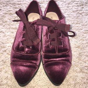 Maroon velvet loafers